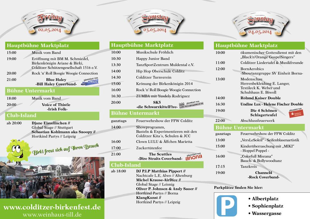 Programm Colditzer Birkenfest 2014